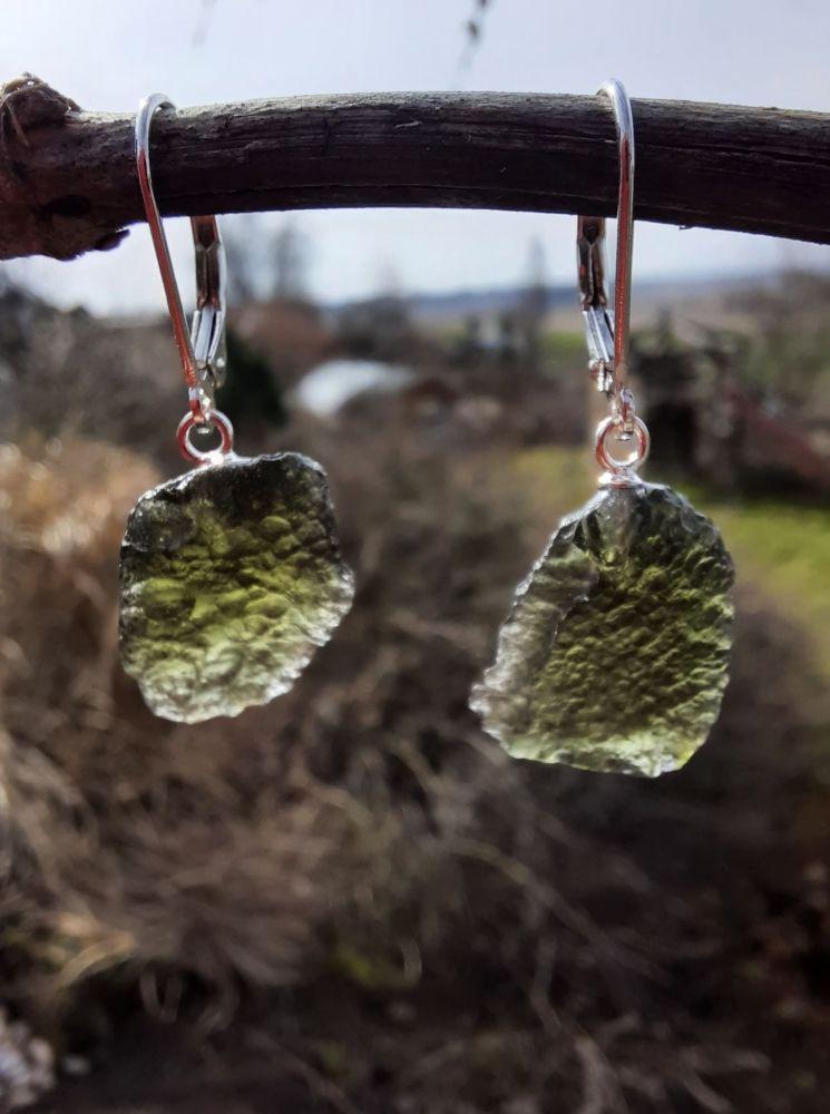 Moldavite Earrings in silver