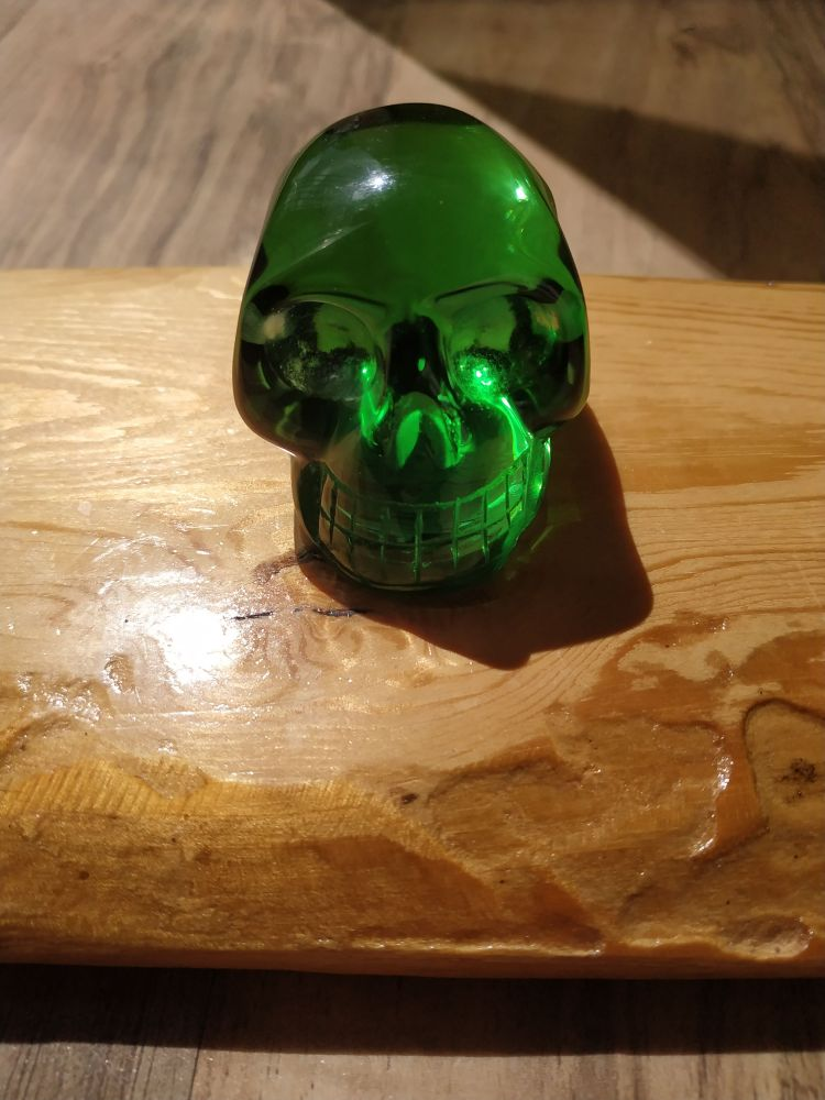 Lebka,Skull,Schädel Helenite/Andara Obsidian Extra 4.5cm