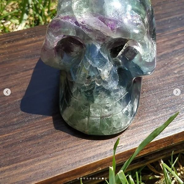 Lebka/Skull/Schädel Fluorite Duhovy/Rainbow XL 7cm