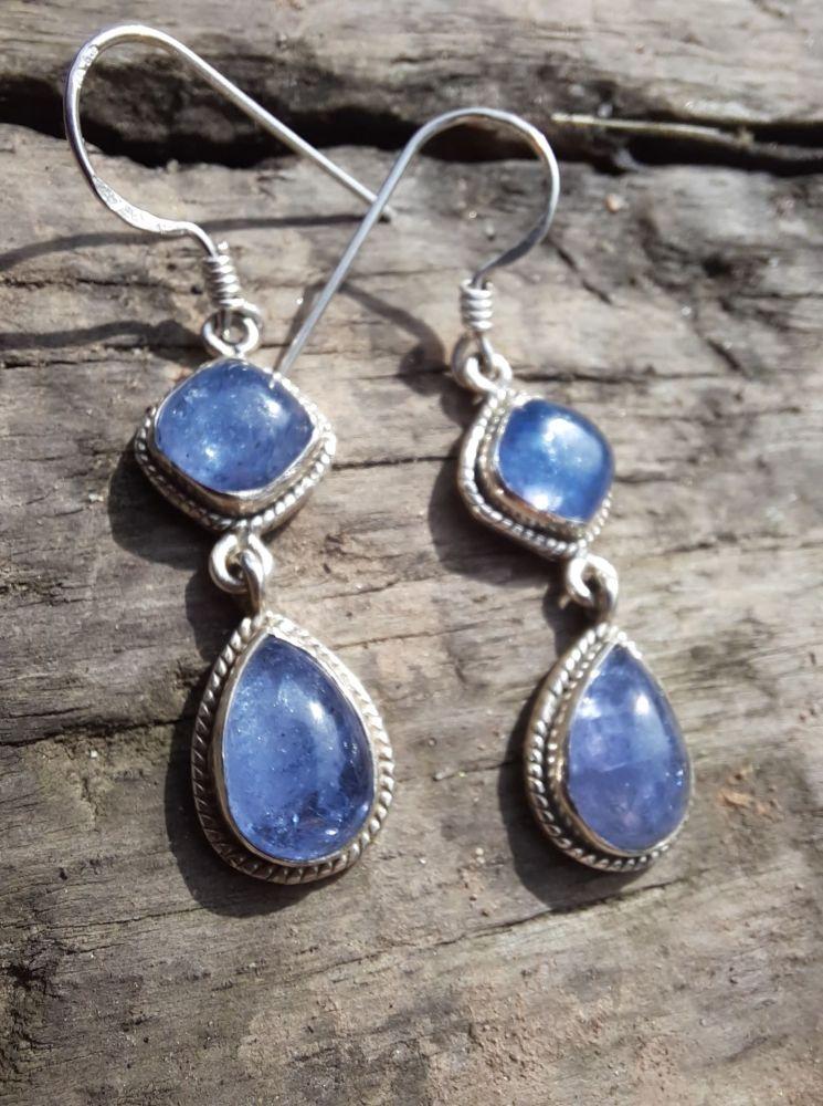 Earrings Silver Tanzanite 4cm