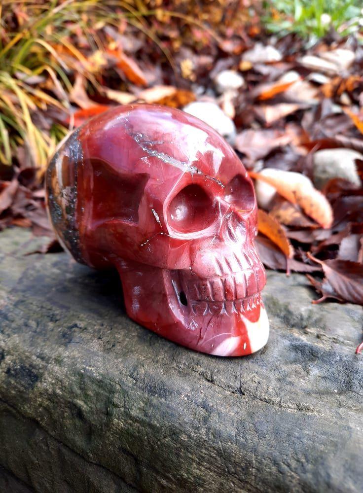 Lebka/Skull/Schädel Jaspis/Jasper Mookaite/Mook 10cm