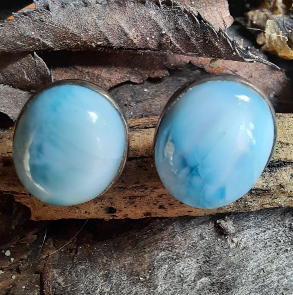 Naušnice střibro Larimar 2cm/Silver earrings