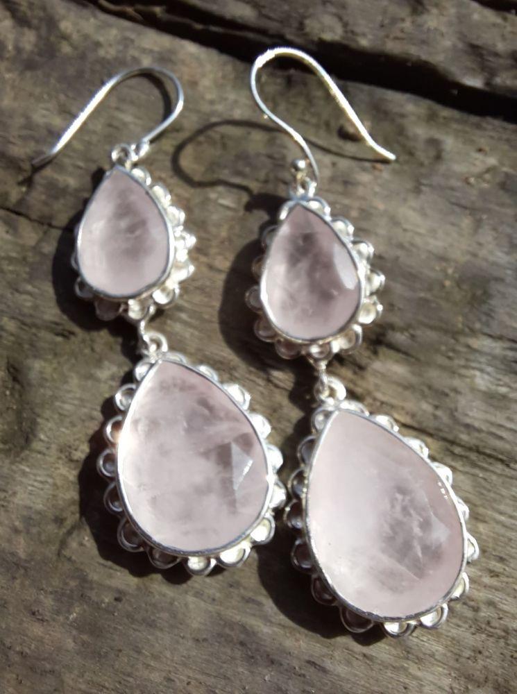 Naušnice střibro Růzenin Extra/Rosequartz cm/Silver earrings 5cm