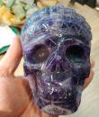 Lebka/Skull/Schädel Amethyst tvar Indian/Indian head carving in Amethyst/Indianer Hauptling Kopf Amethyst XL 10cm