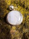 Moon stone Silver round Pendant 3cm