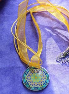 Flower of Life,Round Glass pendant ,35mm