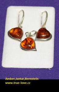 Amber in Silver Earring,Heart ,Pendant