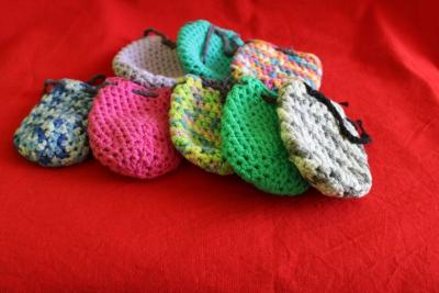 bags crochet different colours for stones,skulls,dragons