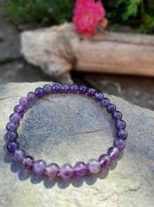 Náramek/Bangle/Armband Amethyst Količky/Beaded 6mm