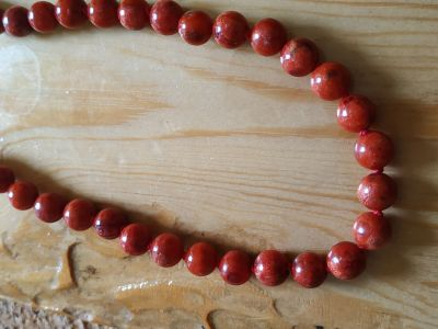 rare true Red Corall Necklace,Beaded 10mm from Sea