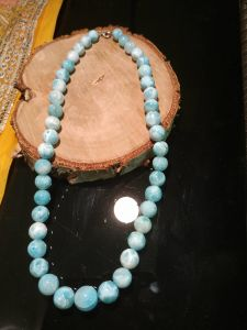 Very rare beaded necklace,Larimar stone- 10mm -Dolphin Stone-Atlantis Stone-
