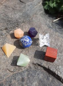7 stones sacred geometry set platonic body 7 pieces with box